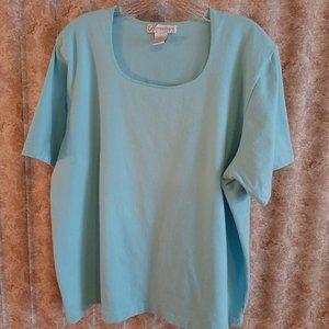 Lt aqua short sleeve scoop neck tee 18/20
